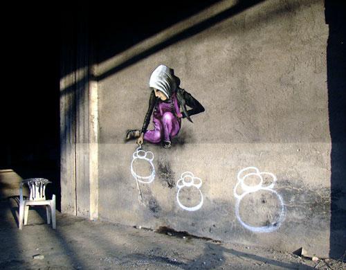 Chalk Drawing Graffiti Wall